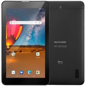 "Tablet Multilaser M7 Plus NB304, Preto, Tela 7"", Wi-fi+3G, Bluetooth, Android, Câm. traseira 2MP e 16GB"
